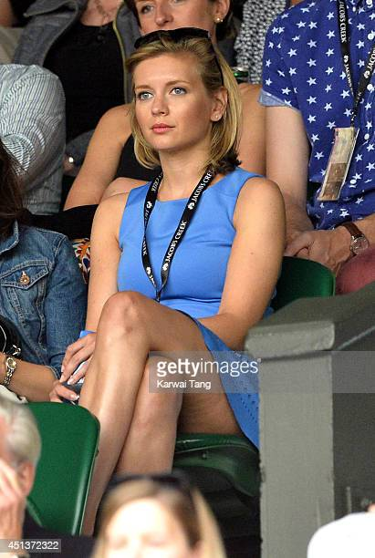 Rachel Riley attends the Mikhail Kuskushkin v Rafael Nadal match on centre court during day six of the Wimbledon Championships at Wimbledon on June...