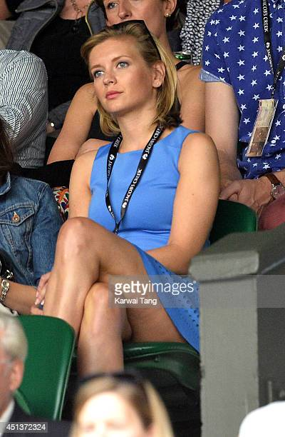 Rachel Riley attends the Mikhail Kuskushkin v Rafael Nadal match on centre court during day six of the Wimbledon Championships at Wimbledon on June...