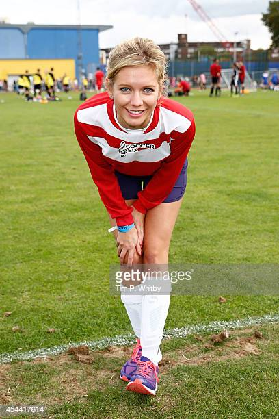 Rachel Riley during the annual celebrity Soccer Six event at Mile End Stadium on August 31 2014 in London England