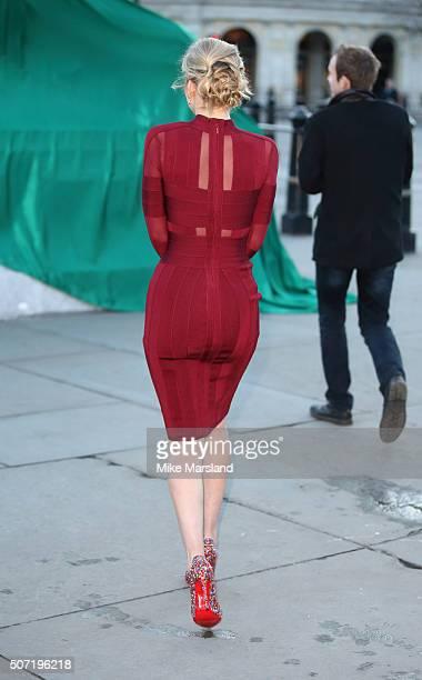 Rachel Riley Unveils Fifth Lion Statue at Trafalgar Sq on January 28 2016 in London United Kingdom