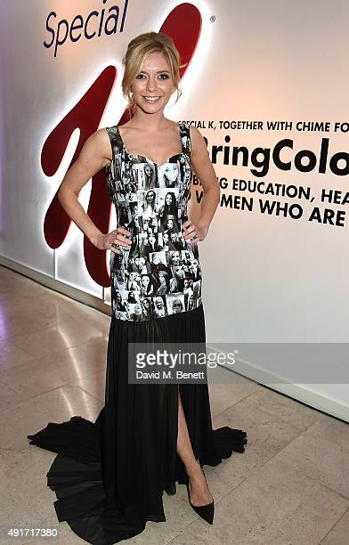 Rachel Riley wears the black and white selfie dress as she attends the Special K Bring Colour Back launch at The Hospital Club on October 7 2015 in...