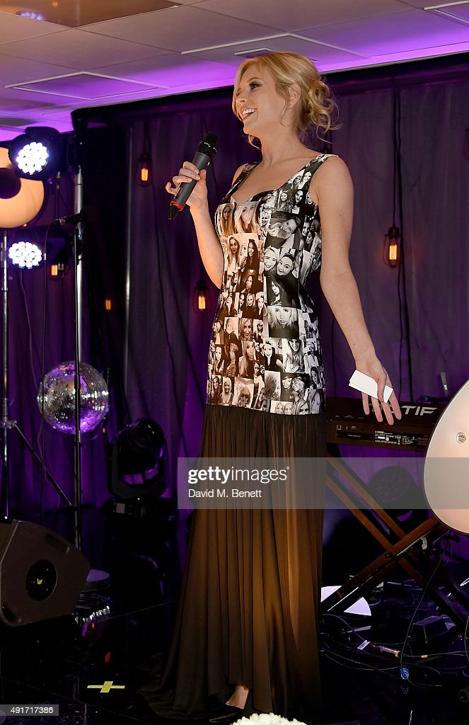 Rachel Riley wears the black and white selfie dress on stage at the Special K Bring Colour Back launch, at The Hospital Club on October 7, 2015 in London, England.