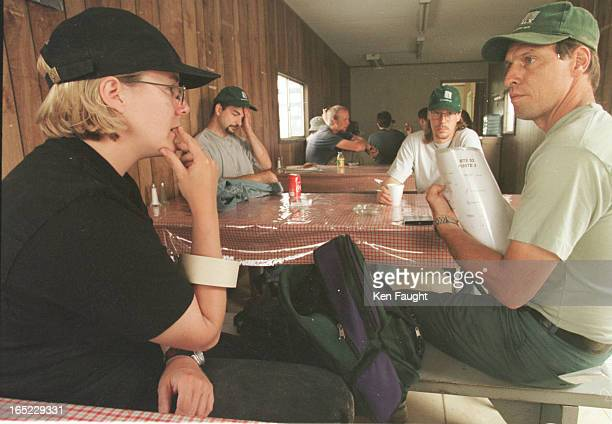 1 Rachel Robbins chats with Paul Guertin a pyrotechnician during the morning coffee break At precisely ten thirty am one woman of the crew yells...