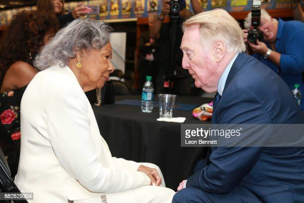 Rachel Robinson wife of Jackie Robinson and Sports broadcaster Vin Scully attend as the Rose Bowl Legacy Foundation hosts the dedication of the...