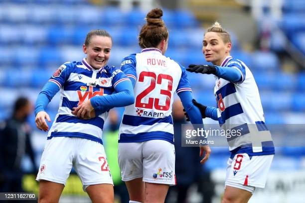 Rachel Rowe of Reading celebrates scoring the opening goal with Jess Fishlock and Lily Woodham during the Barclays FA Women's Super League match...
