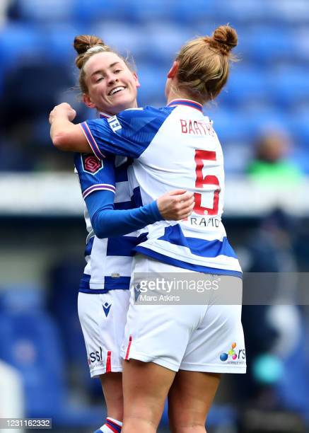 Rachel Rowe of Reading celebrates scoring the opening goal with Molly Bartrip during the Barclays FA Women's Super League match between Reading Women...