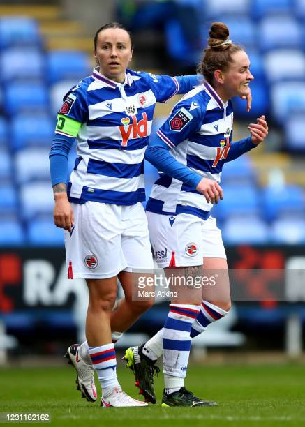 Rachel Rowe of Reading celebrates scoring the opening goal with Natasha Harding during the Barclays FA Women's Super League match between Reading...