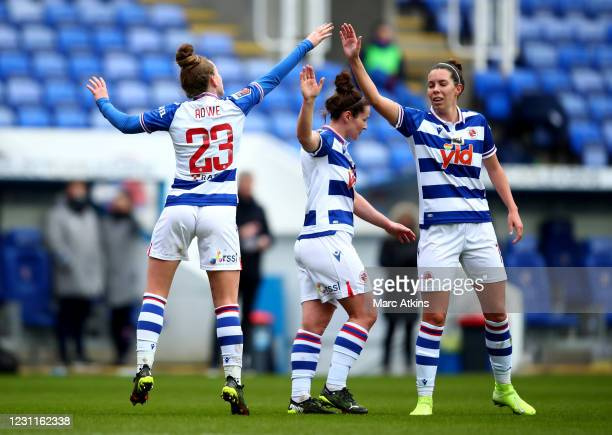 Rachel Rowe of Reading celebrates scoring the opening goal with Deanna Cooper during the Barclays FA Women's Super League match between Reading Women...