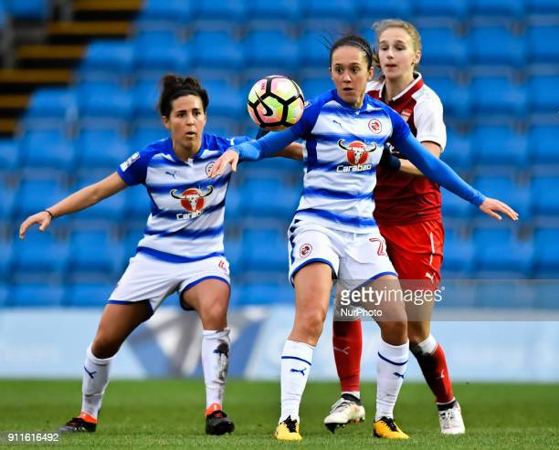 Rachel Rowe of Reading FC Women battles for possession with Vivianne Miedema of Arsenal during Women's Super League 1 match between Reading FC Women...