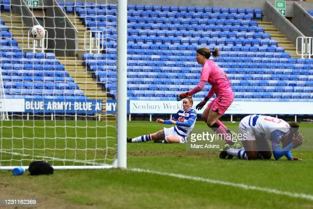 Rachel Rowe of Reading scores the opening goal during the Barclays FA Women's Super League match between Reading Women and Everton Women at Madejski...