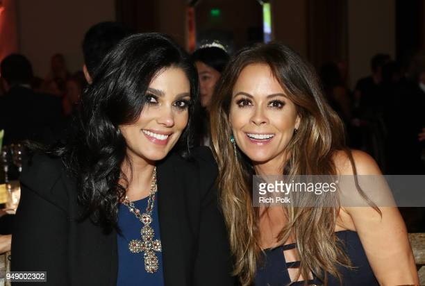 Rachel Roy and Brooke Burke attend the 2018 World of Children Hero Awards Benefit at Montage Beverly Hills on April 19 2018 in Beverly Hills...