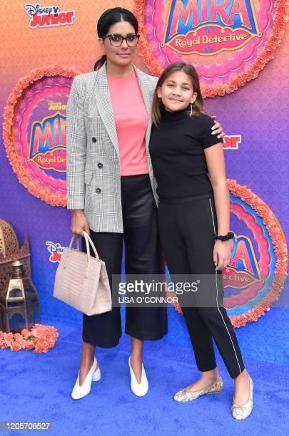 Rachel Roy and daughter Tallulah Ruth Dash walk the carpet during Disney Juniors Mira Royal Detective world premiere at Walt Disney Studios in...