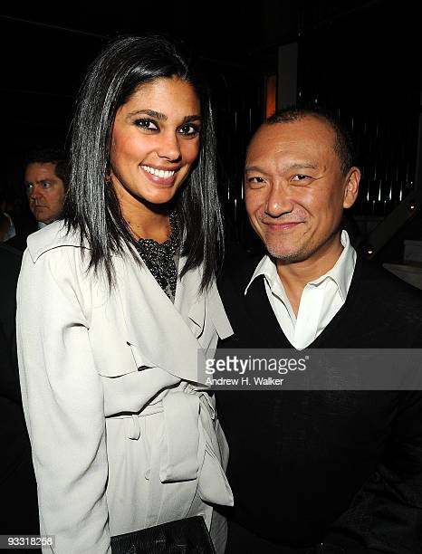 Rachel Roy and Joe Zee attend the after party for The Cinema Society Details and DKNY screening of Brothers at Abe Arthur's on November 22 2009 in...