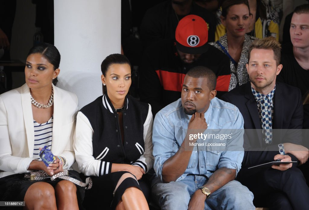 Rachel Roy, TV Personality Kim Kardashian, Rapper Kanye West and Derek Blasberg attend Louise Goldin Spring 2013 at Milk Studios on September 12, 2012 in New York City.