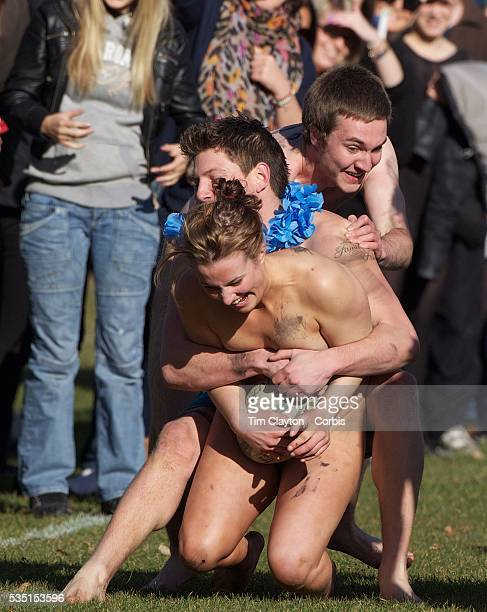 Rachel Scott is tackled during the 'Nude Blacks' versus a Fijian invitation side played at Logan Park Dunedin as an unofficial curtain raiser match...