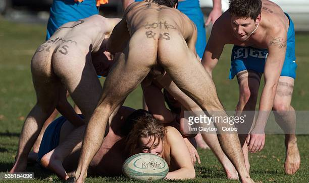 Rachel Scott releases the ball in the tackle during the 'Nude Blacks' versus a Fijian invitation side played at Logan Park Dunedin as an unofficial...