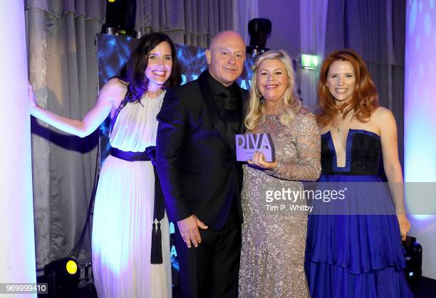 Rachel Shelley and Victoria Broom with Jacquie Lawrence winner of the DIVA Choice award presented by Ross Kemp at the 2018 Diva Awards at The Waldorf...