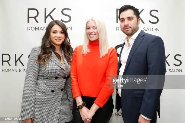 Rachel Shimanova Lexi Cross and Roman Kusayev attend the Roman K Salon Madison Avenue Opening on November 21 2019 in New York City