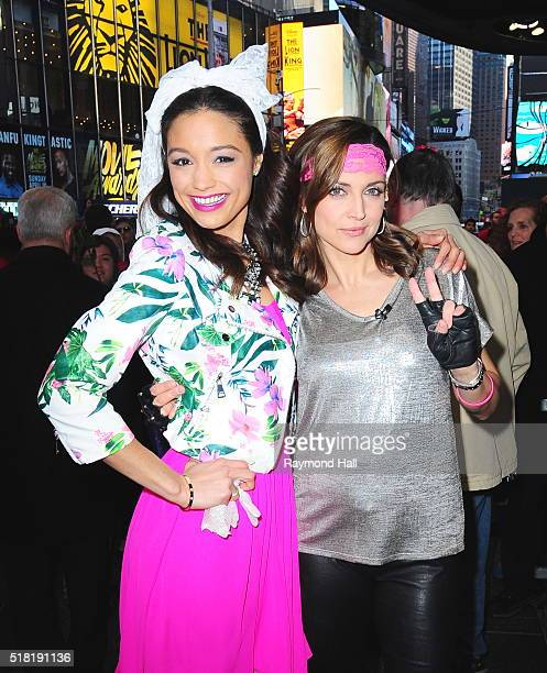Rachel Smith and Paula Faris are seen on the set of Good Morning America on March 30 2016 in New York City