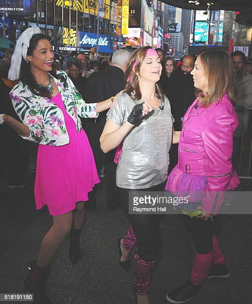 Rachel Smith with Ginger Zee and Paula Faris are seen on the set of Good Morning Americaon March 30 2016 in New York City