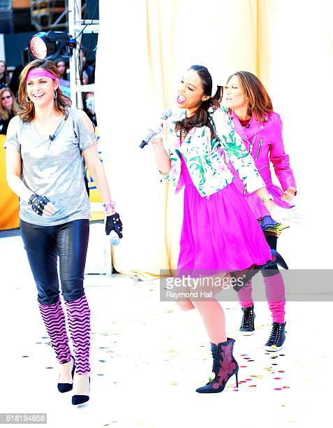 Rachel Smith with Ginger Zee and Paula Faris are seen on the set of Good Morning America on March 30 2016 in New York City