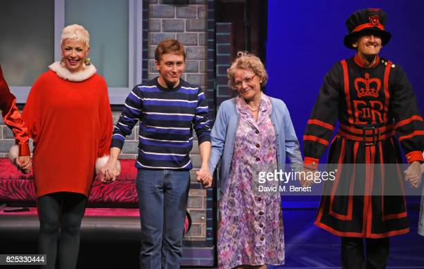 Rachel Stanley Ashley Cousins Gilly Tompkins and Richard James bow at the curtain call during the press night performance of 'David Walliams' Gangsta...