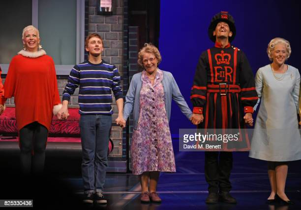 Rachel Stanley Ashley Cousins Gilly Tompkins Richard James Louise Bailey bow at the curtain call during the press night performance of 'David...