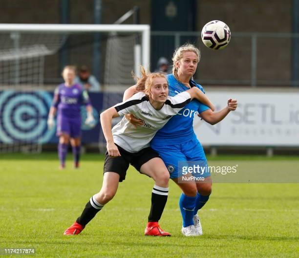LR Rachel Stevens of Dartford FC Women and Jay Blackie of Billericay Town Ladies during Women's FA Cup 2nd Round Qualifier between Dartford FC Women...