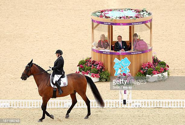 Rachel Stock of New Zealand during the Dressage Individual Championship Test Grade Grade III on day 4 of the London 2012 Paralympic Games at...