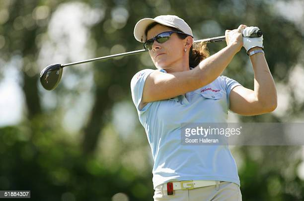 Rachel Teske hits a shot during the third round of ADT Championship at the Trump International Golf Club on November 20 2004 in West Palm Beach...