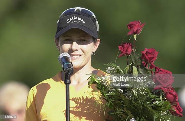 Rachel Teske of Australia celebrates after winning the Jamie Farr Kroger Classic on July 14, 2002 at Highland Meadows GC in Sylvania, Ohio.
