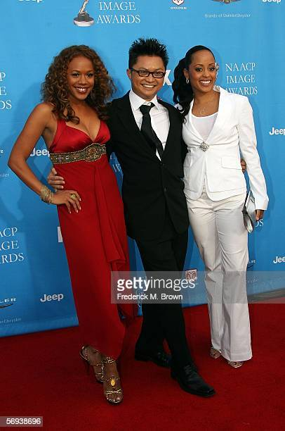 Rachel True Alec Mapa and Essence Atkins arrive at the 37th Annual NAACP Image Awards at the Shrine Auditorium on February 25 2006 in Los Angeles...