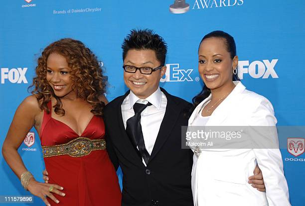 Rachel True Alec Mapa and Essence Atkins during The 37th Annual NAACP Image Awards Red Carpet at Shrine Auditorium in Los Angeles California United...