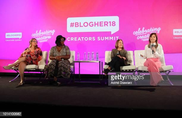 Rachel Tuchman Tiffany Warren Alison Lewis and Chloe Melas speak during the #BlogHer18 Creators Summit at Pier 17 on August 9 2018 in New York City