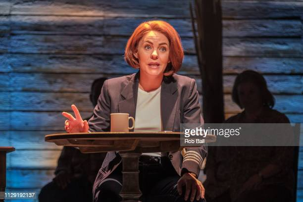 Rachel Tucker performs during a photocall for 'Come from Away' at Phoenix Theatre on February 12 2019 in London England