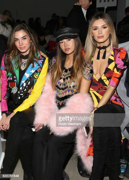 Rachel Vallori Ana Tanaka and Tika Camaj attend the Naeem Khan collection during New York Fashion Week The Shows at Gallery 2 Skylight Clarkson Sq on...