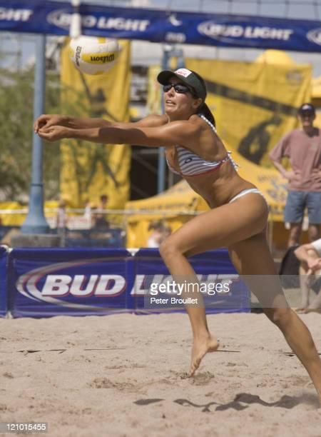 Rachel Wacholder AVP beach volleyball player digs a ball in a game at Tempe Arizona on April 24 2005