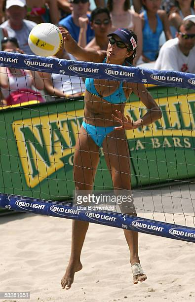 Rachel Wacholder hits the ball during the AVP Hermosa Beach Open women final match against Kerri Walsh and Misty May-Treanor at the Hermosa Beach...