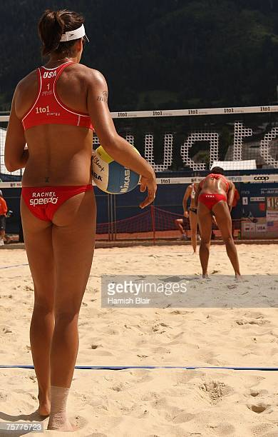 Rachel Wacholder of USA prepares to serve during day four of the FIVB 2007 Beach Volleyball World Championships on July 27 2007 in Gstaad Switzerland