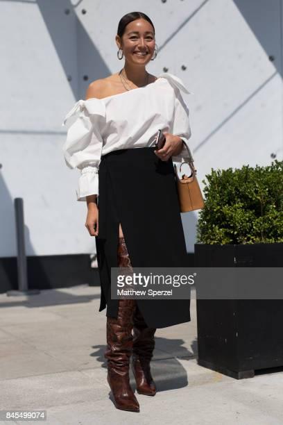 Rachel Wang is seen attending Public School during New York Fashion Week wearing Isabel Marrant on September 10, 2017 in New York City.