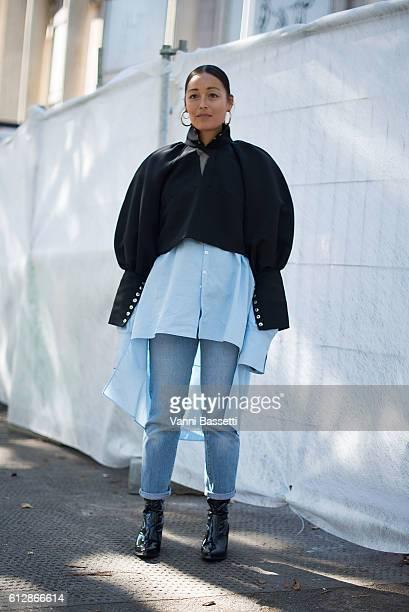 b2946d697bd1 Rachel Wang poses before the Miu Miu show at the Palace de Iena during  Paris Fashion