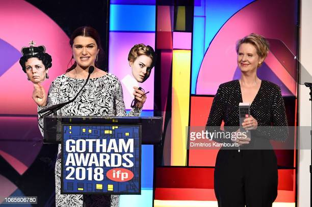 Rachel Weisz and Cynthia Nixon speak onstage during IFP's 28th Annual Gotham Independent Film Awards at Cipriani, Wall Street on November 26, 2018 in...