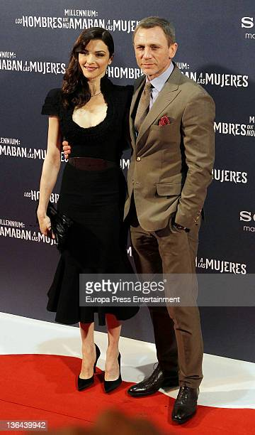 Rachel Weisz and Daniel Craig attend the 'Millennium The Girl With The Dragon Tattoo' premiere at Callao Cinema on January 4 2012 in Madrid Spain