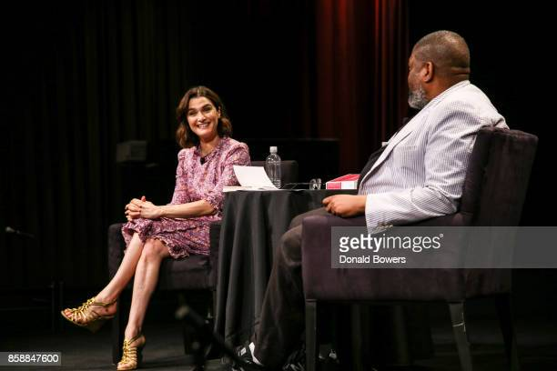 Rachel Weisz and Hilton Als Attend The 2017 New Yorker Festival Rachel Weisz Talks With Hilton Als at SVA Theatre on October 7 2017 in New York City