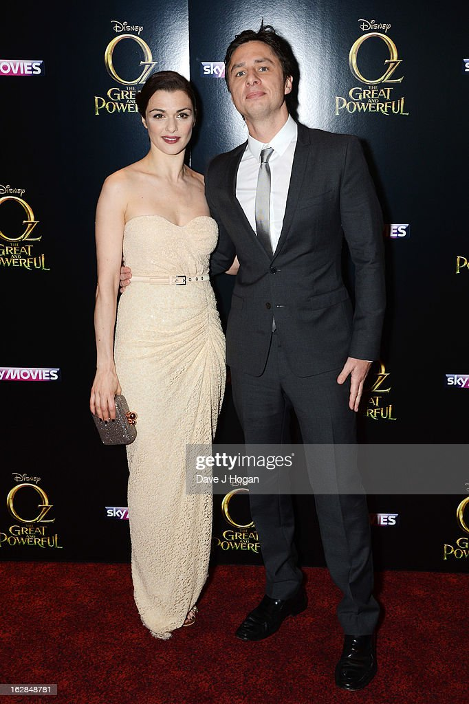 Rachel Weisz and Zach Braff attend the European premiere of Oz: The Great And Powerful at The Empire Leicester Square on February 28, 2013 in London, England.