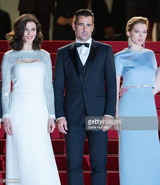 Rachel Weisz Colin Farrell and Lea Seydoux attend the 'Lobster' Premiere during the 68th annual Cannes Film Festival on May 15 2015 in Cannes France