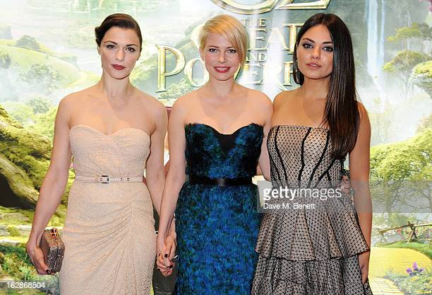Rachel Weisz Michelle Williams and Mila Kunis attend the European Premiere of 'Oz The Great and Powerful' at Empire Leicester Square on February 28...
