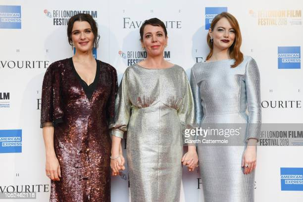 Rachel Weisz Olivia Colman and Emma Stone attend the UK Premiere of The Favourite American Express Gala at the 62nd BFI London Film Festival on...