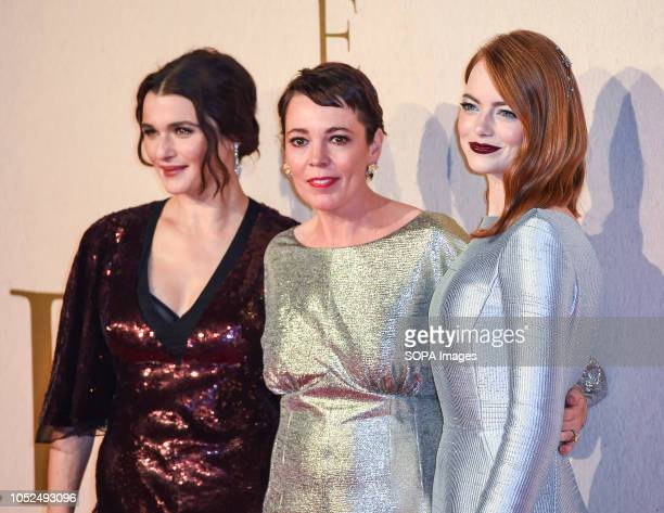 Rachel Weisz Olivia Colman and Emma Stone attend the UK Premiere of 'The Favourite' American Express Gala at the 62nd BFI London Film Festival