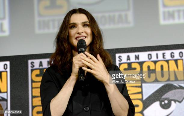 Rachel Weisz speaks at the Marvel Studios Panel during 2019 ComicCon International at San Diego Convention Center on July 20 2019 in San Diego...